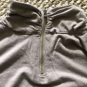 Mock neck top with zipper back